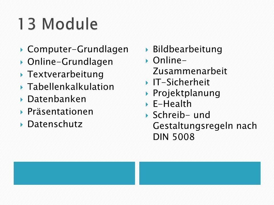 13 Module Computer-Grundlagen Online-Grundlagen Textverarbeitung