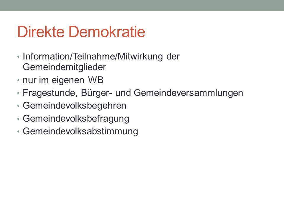 Direkte Demokratie Information/Teilnahme/Mitwirkung der Gemeindemitglieder. nur im eigenen WB. Fragestunde, Bürger- und Gemeindeversammlungen.