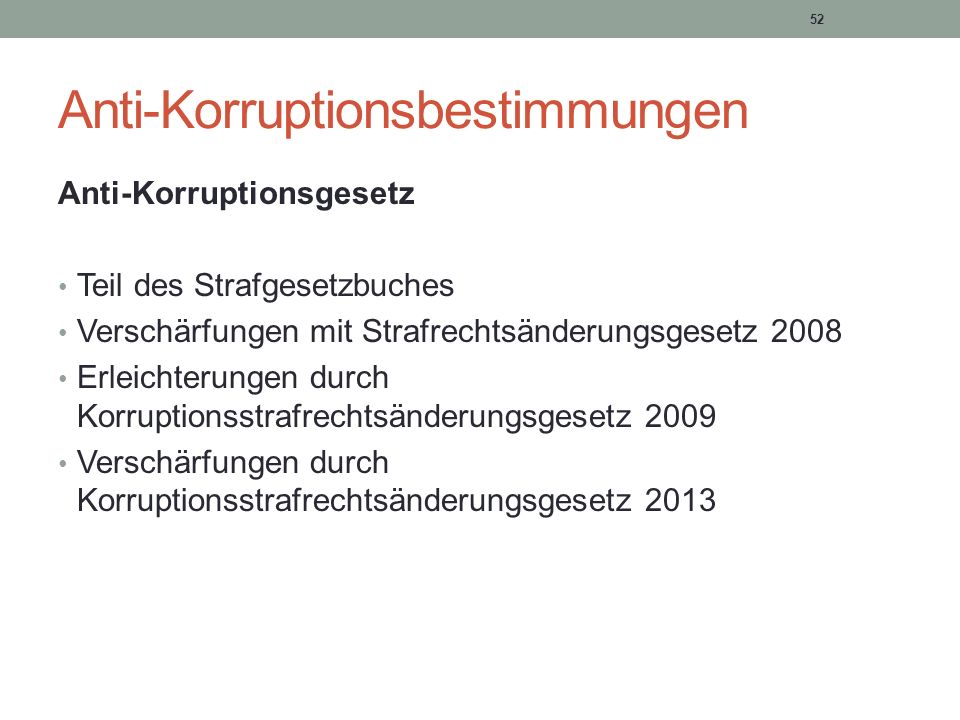 Anti-Korruptionsbestimmungen
