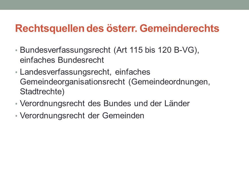 Rechtsquellen des österr. Gemeinderechts