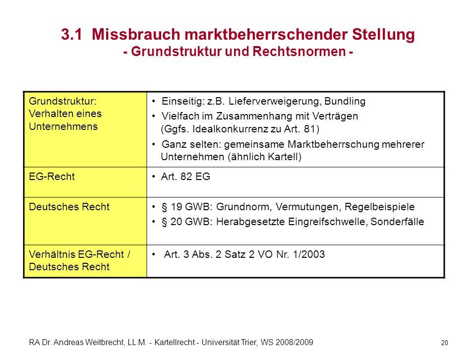 3.1 Missbrauch marktbeherrschender Stellung - Grundstruktur und Rechtsnormen -