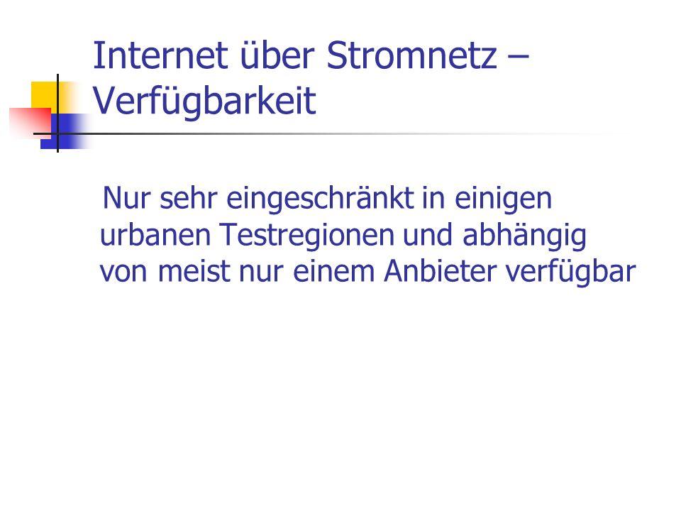 Internet über Stromnetz –Verfügbarkeit