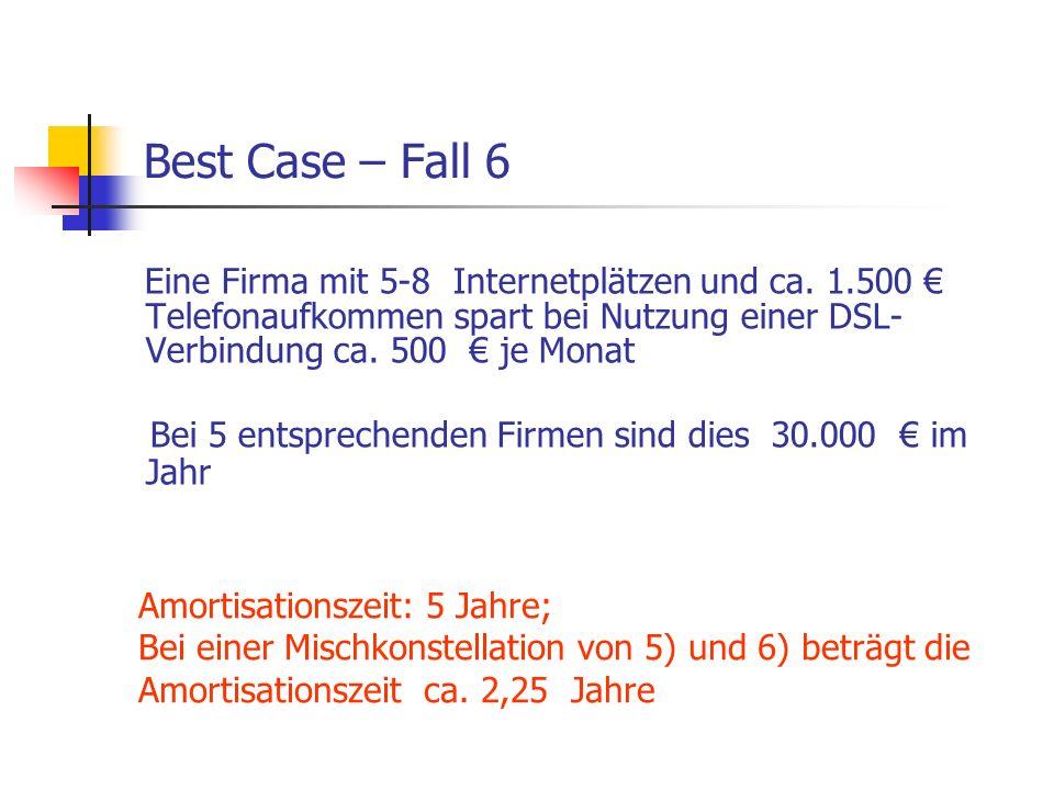 Best Case – Fall 6 Eine Firma mit 5-8 Internetplätzen und ca. 1.500 € Telefonaufkommen spart bei Nutzung einer DSL-Verbindung ca. 500 € je Monat.