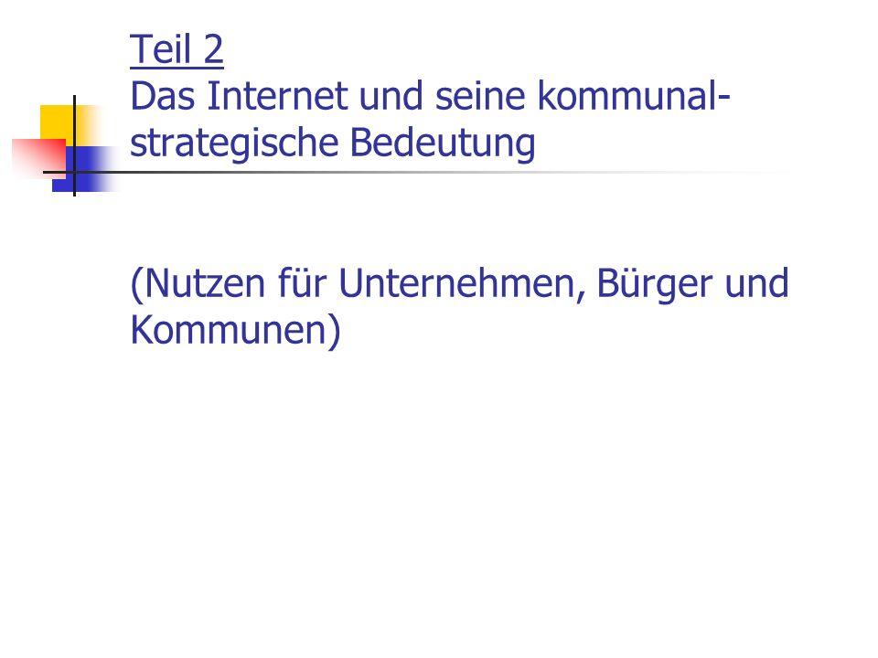 Teil 2 Das Internet und seine kommunal-strategische Bedeutung (Nutzen für Unternehmen, Bürger und Kommunen)