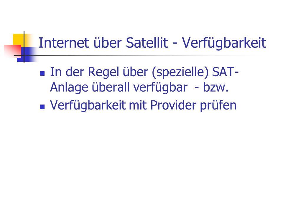 Internet über Satellit - Verfügbarkeit