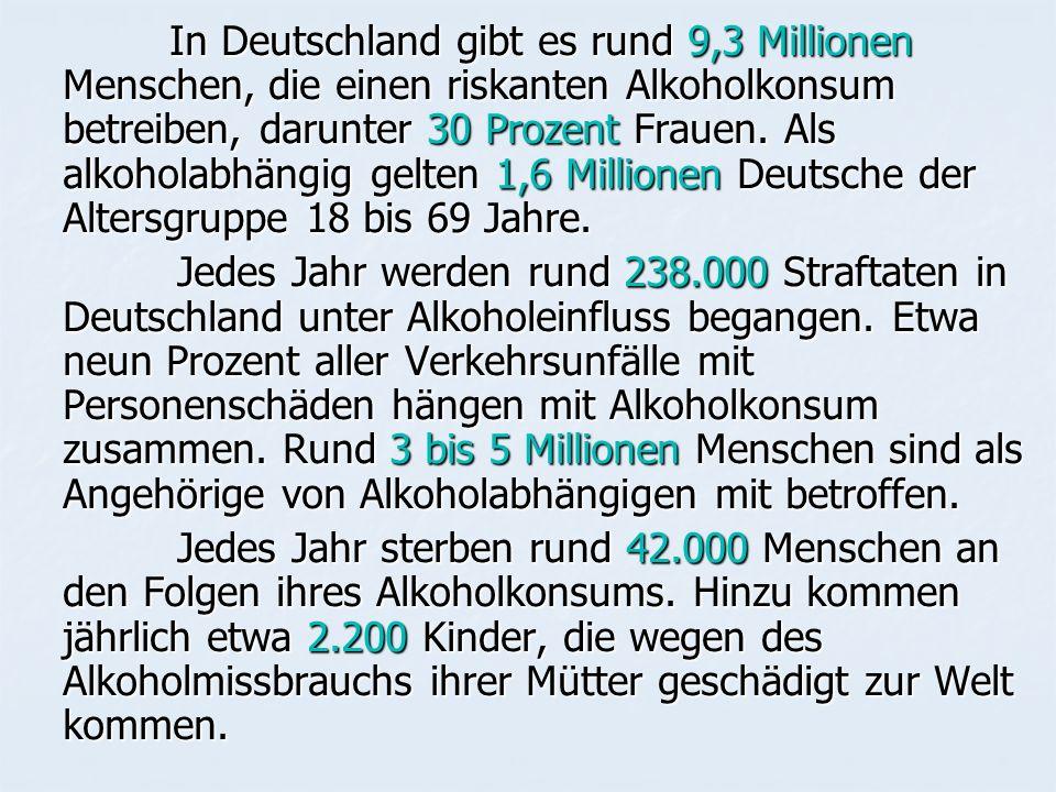 In Deutschland gibt es rund 9,3 Millionen Menschen, die einen riskanten Alkoholkonsum betreiben, darunter 30 Prozent Frauen. Als alkoholabhängig gelten 1,6 Millionen Deutsche der Altersgruppe 18 bis 69 Jahre.