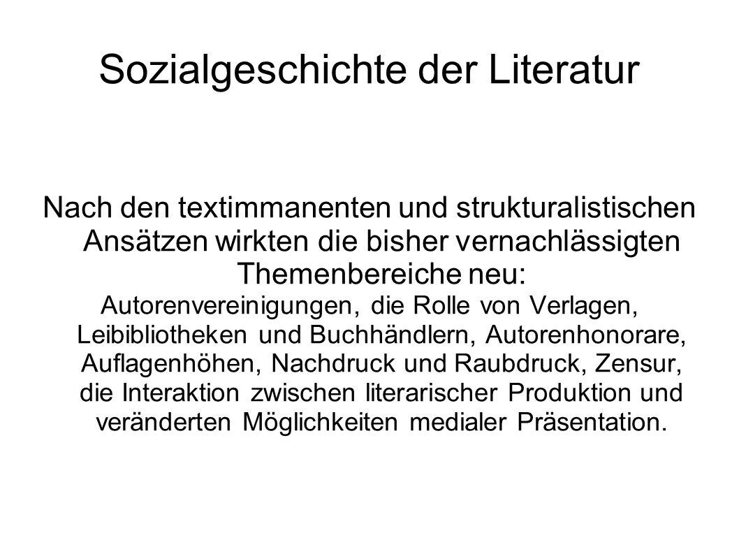Sozialgeschichte der Literatur