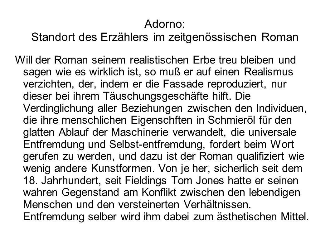 Adorno: Standort des Erzählers im zeitgenössischen Roman