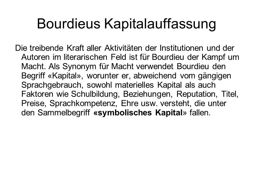 Bourdieus Kapitalauffassung