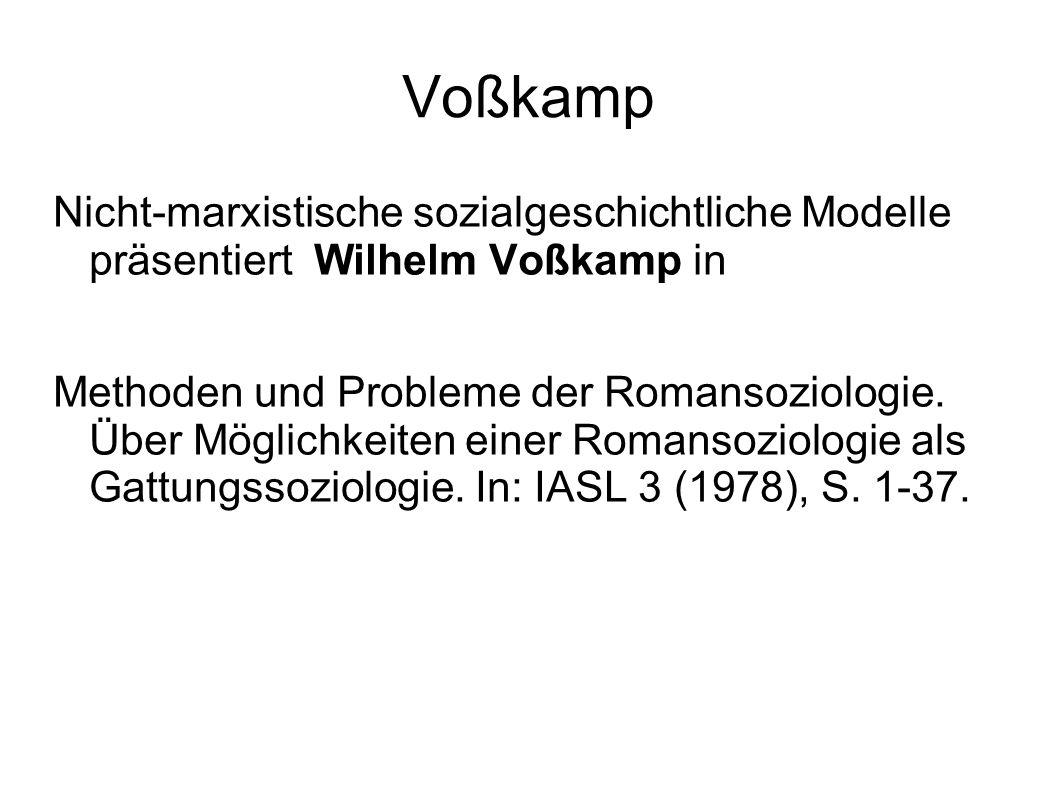 Voßkamp Nicht-marxistische sozialgeschichtliche Modelle präsentiert Wilhelm Voßkamp in.