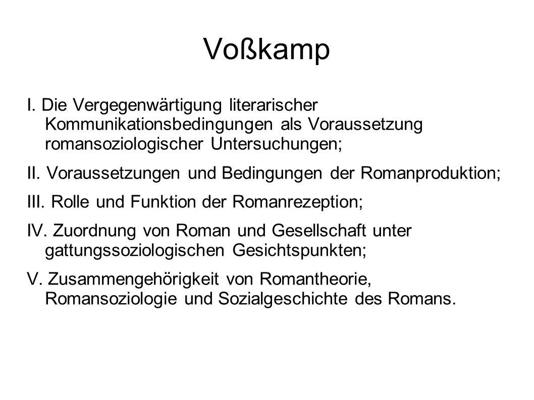 Voßkamp I. Die Vergegenwärtigung literarischer Kommunikationsbedingungen als Voraussetzung romansoziologischer Untersuchungen;