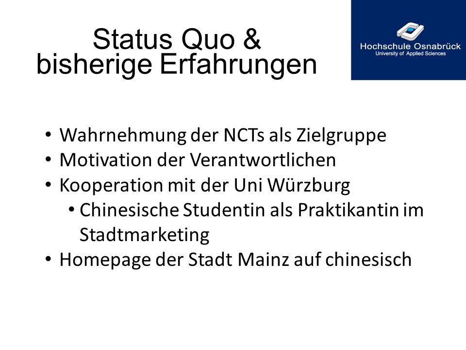 Status Quo & bisherige Erfahrungen