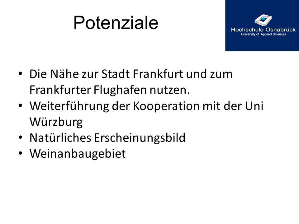Potenziale Die Nähe zur Stadt Frankfurt und zum Frankfurter Flughafen nutzen. Weiterführung der Kooperation mit der Uni Würzburg.