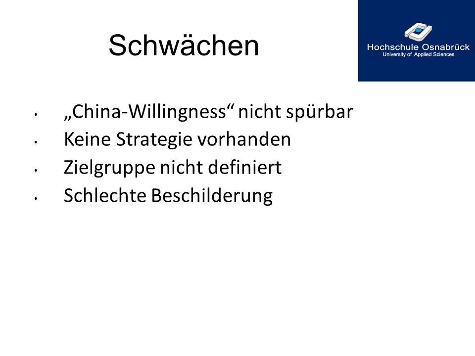 """Schwächen """"China-Willingness nicht spürbar Keine Strategie vorhanden"""
