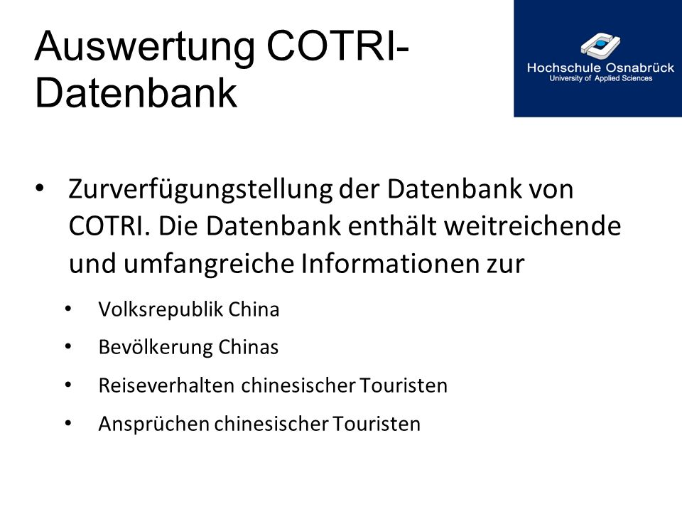 Auswertung COTRI- Datenbank