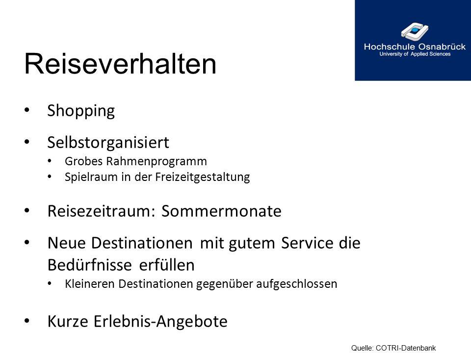 Reiseverhalten Shopping Selbstorganisiert Reisezeitraum: Sommermonate
