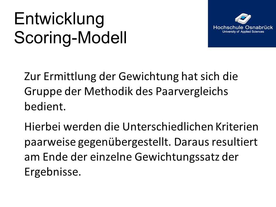 Entwicklung Scoring-Modell