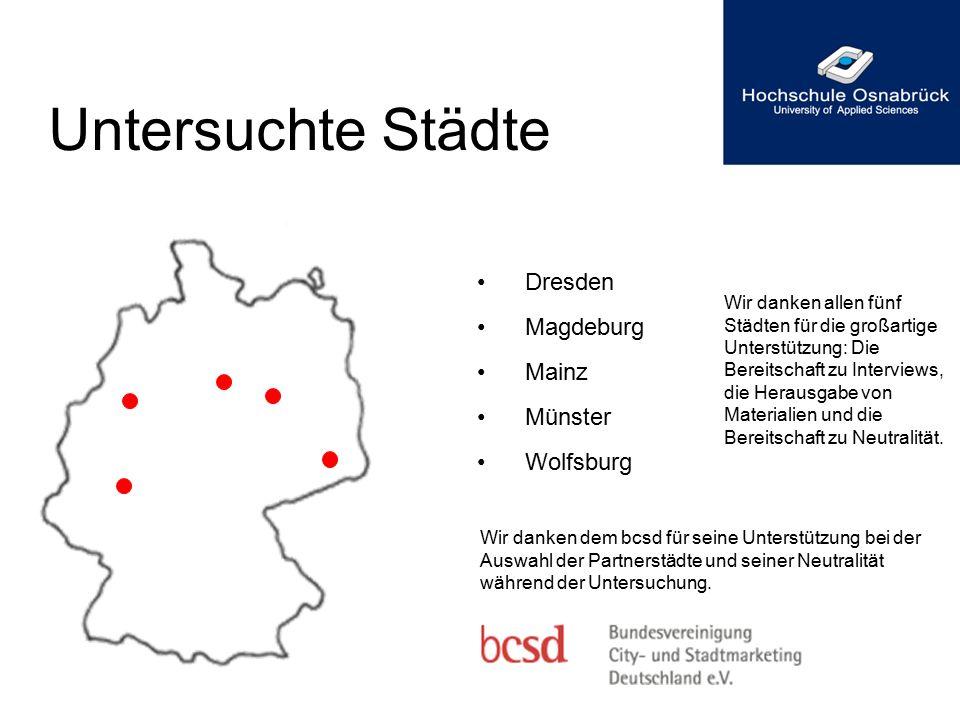 Untersuchte Städte Dresden Magdeburg Mainz Münster Wolfsburg