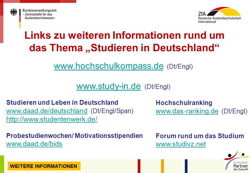 """Links zu weiteren Informationen rund um das Thema """"Studieren in Deutschland"""