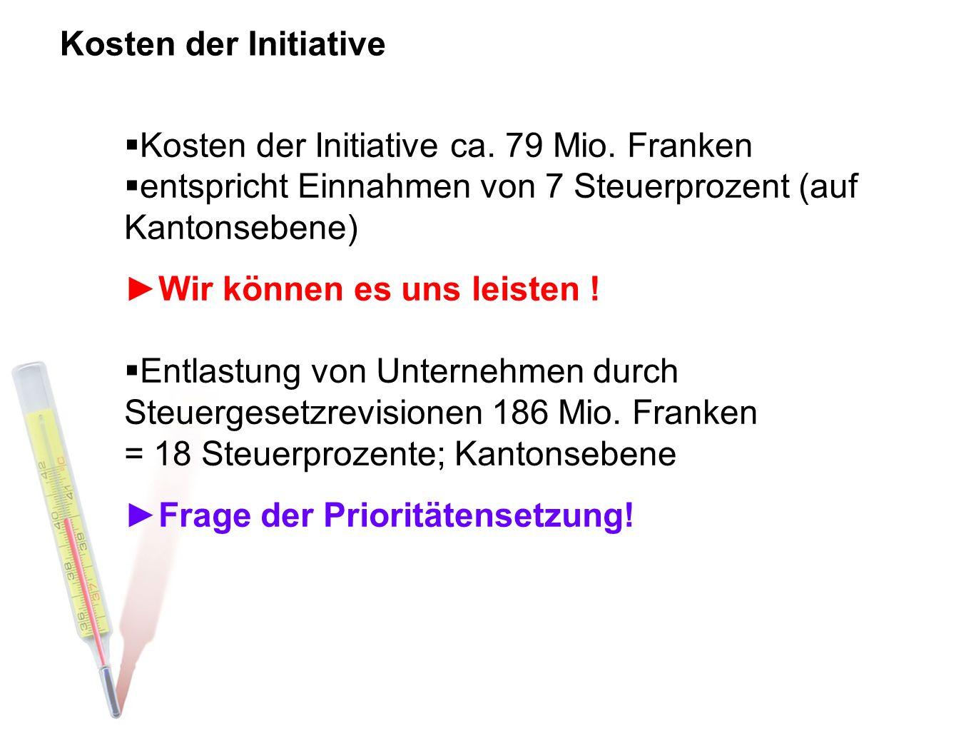 Kosten der Initiative ca. 79 Mio. Franken