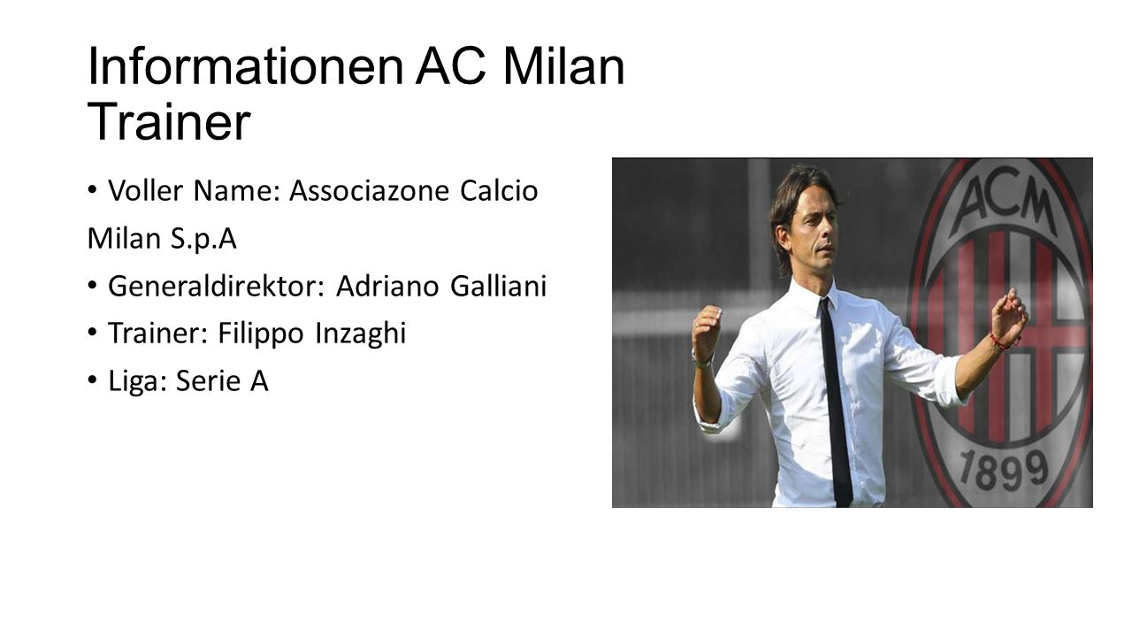 Informationen AC Milan Trainer
