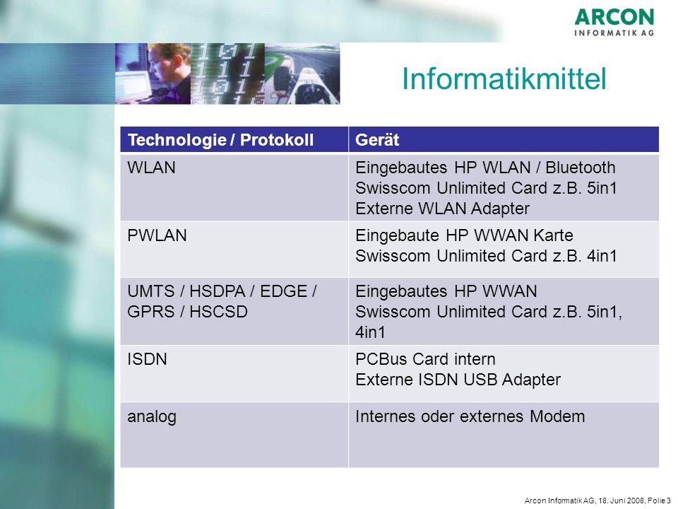 Informatikmittel Technologie / Protokoll Gerät WLAN