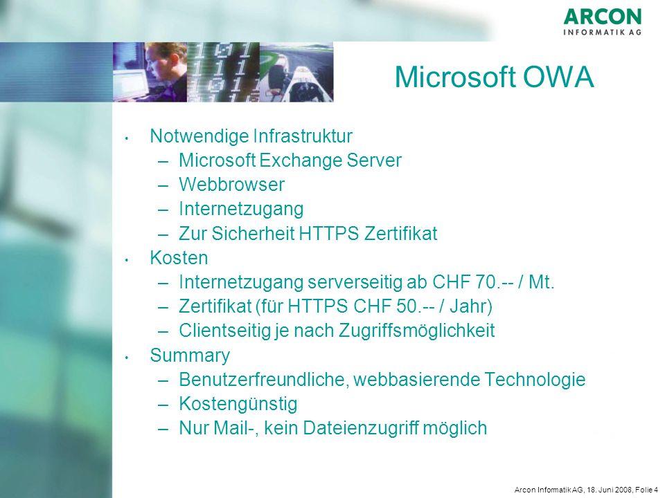 Microsoft OWA Notwendige Infrastruktur Microsoft Exchange Server