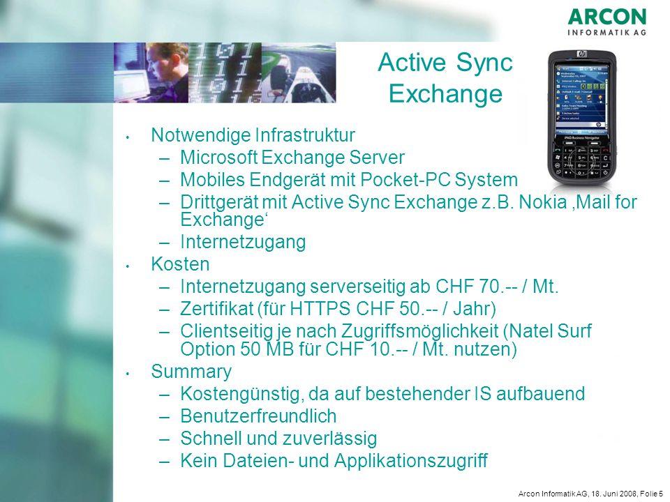 Active Sync Exchange Notwendige Infrastruktur