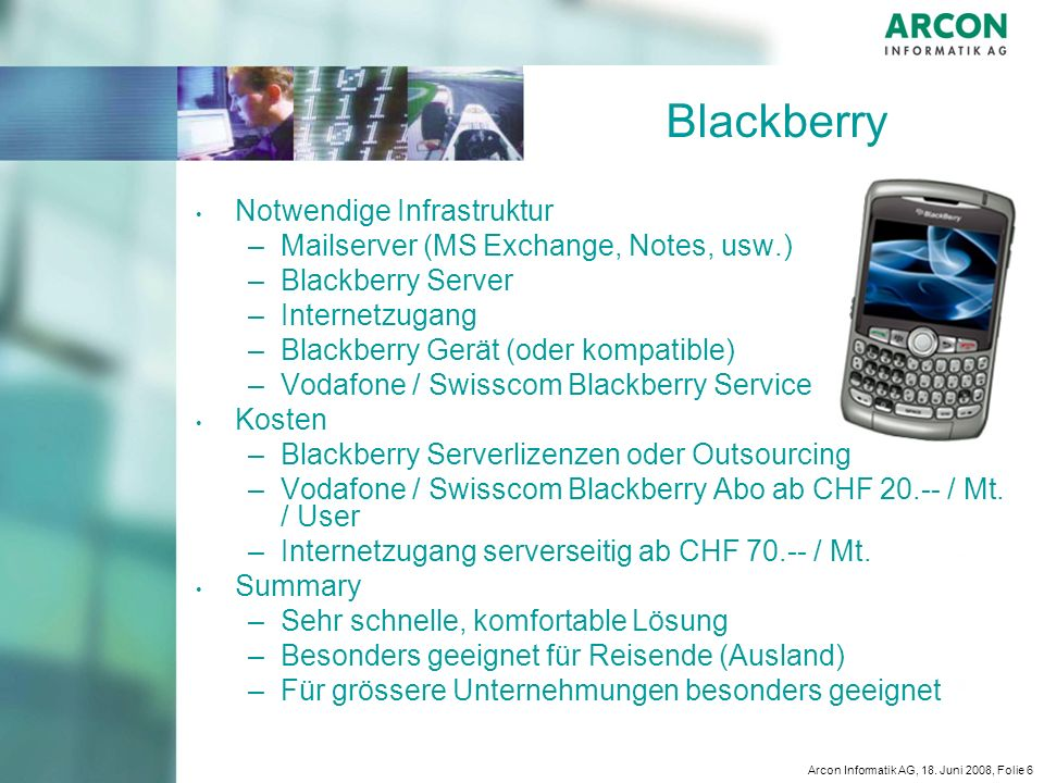 Blackberry Notwendige Infrastruktur