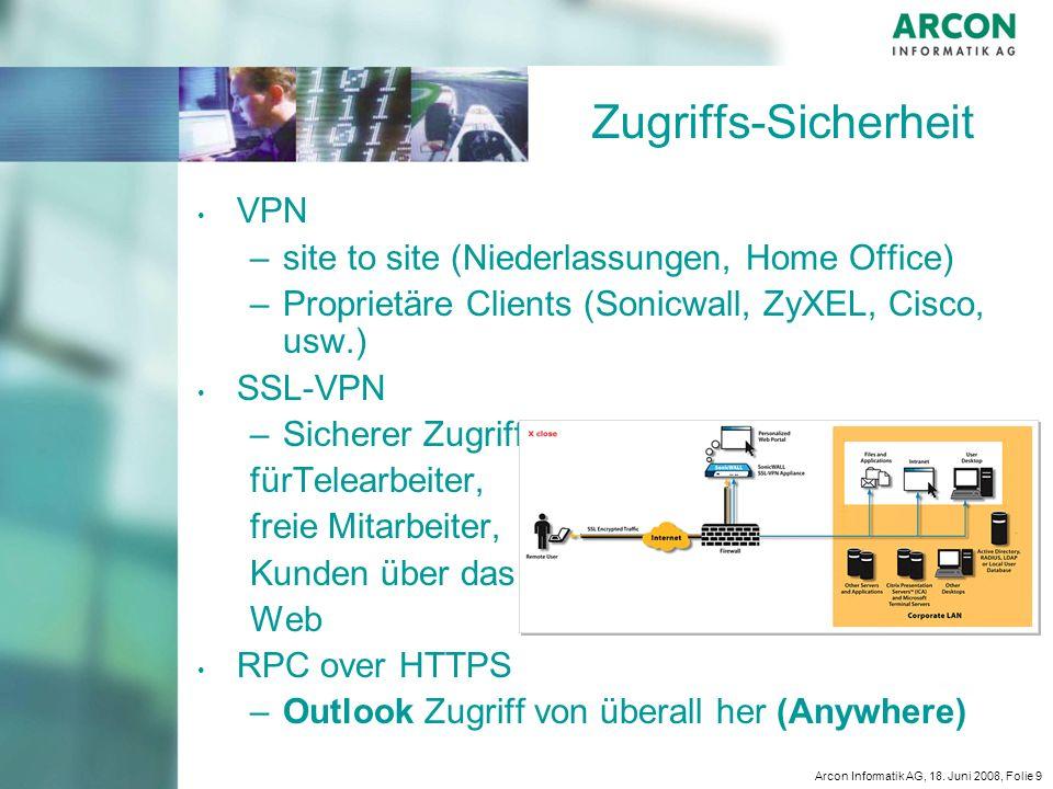 Zugriffs-Sicherheit VPN site to site (Niederlassungen, Home Office)