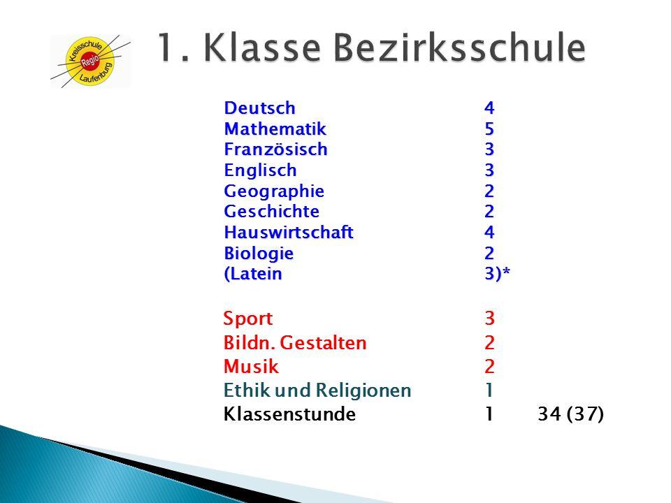 1. Klasse Bezirksschule Sport 3 Bildn. Gestalten 2 Musik 2