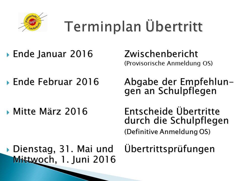 Terminplan Übertritt Ende Januar 2016 Zwischenbericht