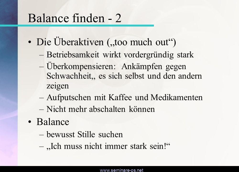 """Balance finden - 2 Die Überaktiven (""""too much out ) Balance"""