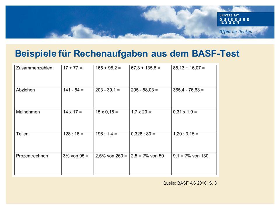 Beispiele für Rechenaufgaben aus dem BASF-Test