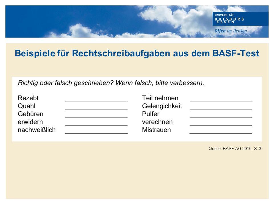 Beispiele für Rechtschreibaufgaben aus dem BASF-Test