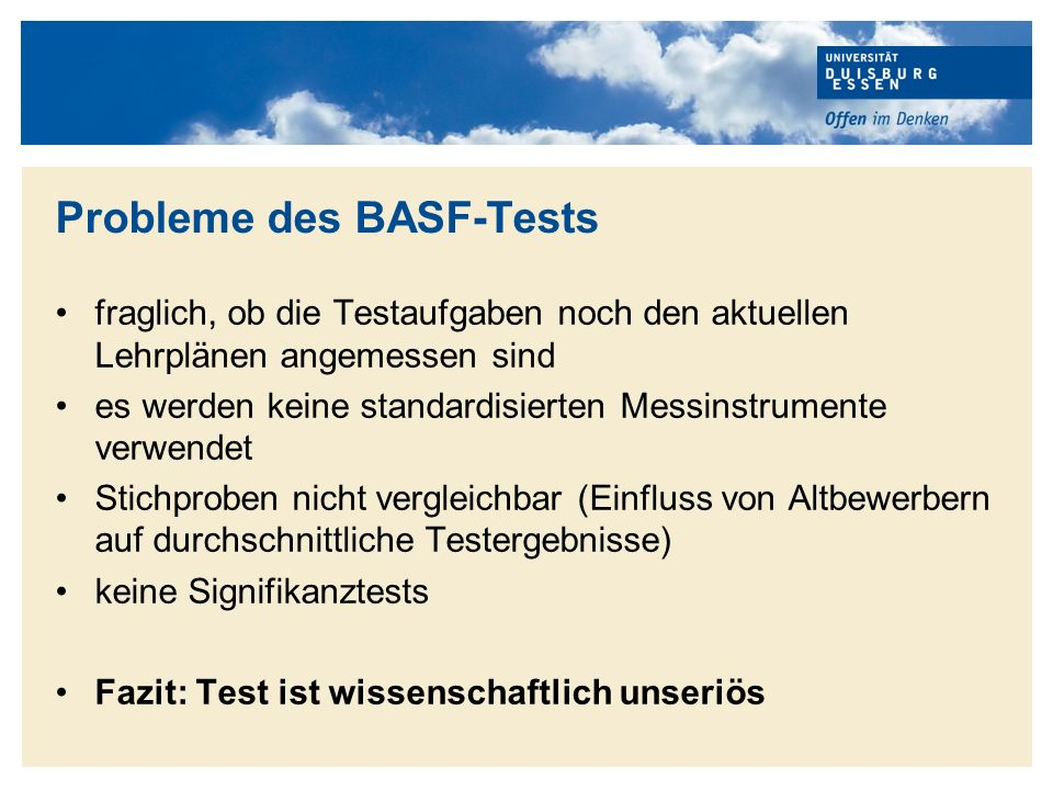 Probleme des BASF-Tests