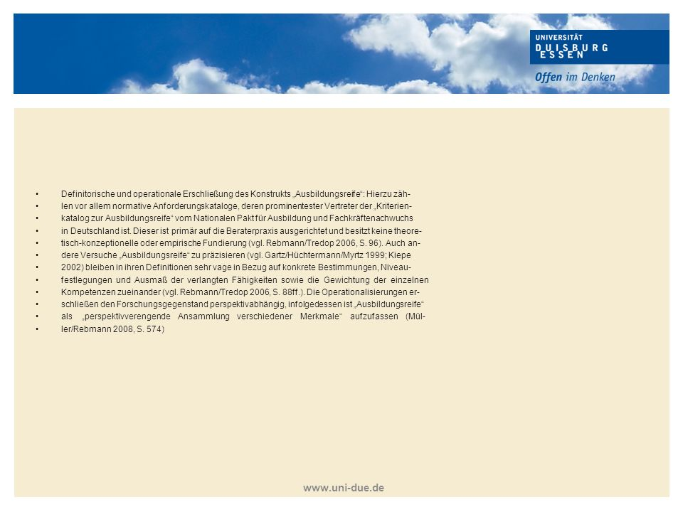 """Definitorische und operationale Erschließung des Konstrukts """"Ausbildungsreife : Hierzu zäh-"""