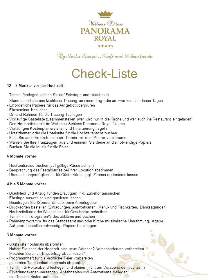Check-Liste 12 – 9 Monate vor der Hochzeit - Termin festlegen, achten Sie auf Feiertage und Urlaubszeit.