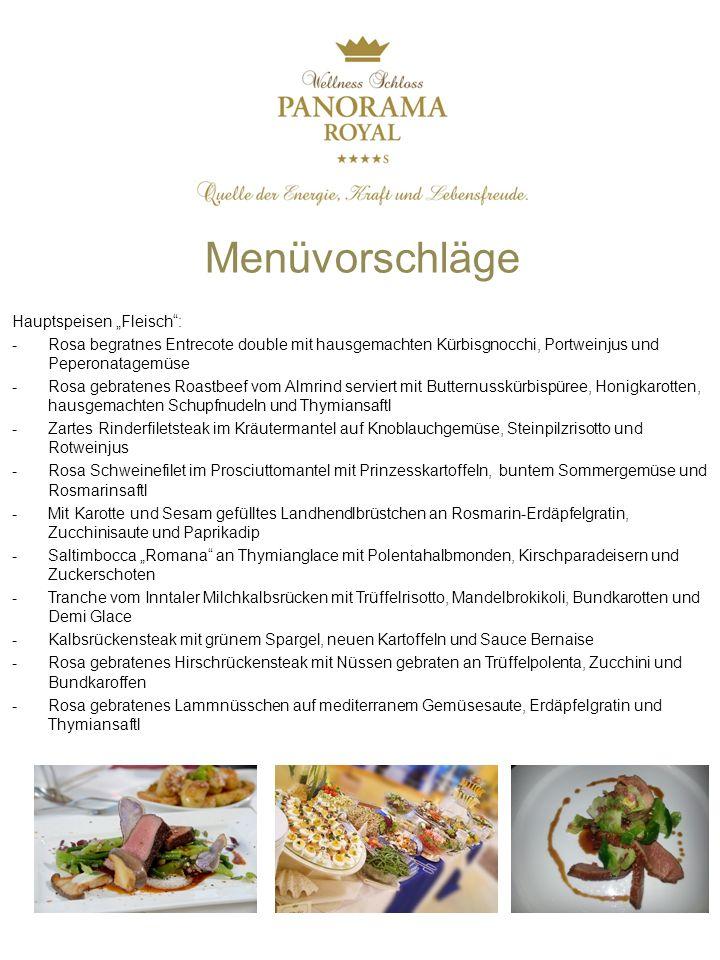"""Menüvorschläge Hauptspeisen """"Fleisch :"""