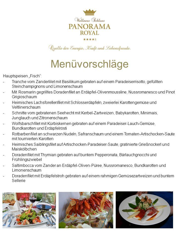 """Menüvorschläge Hauptspeisen """"Fisch :"""