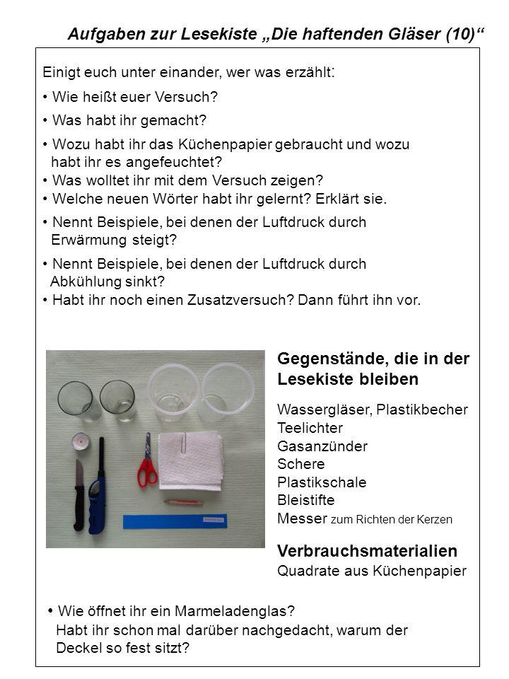 """Aufgaben zur Lesekiste """"Die haftenden Gläser (10)"""