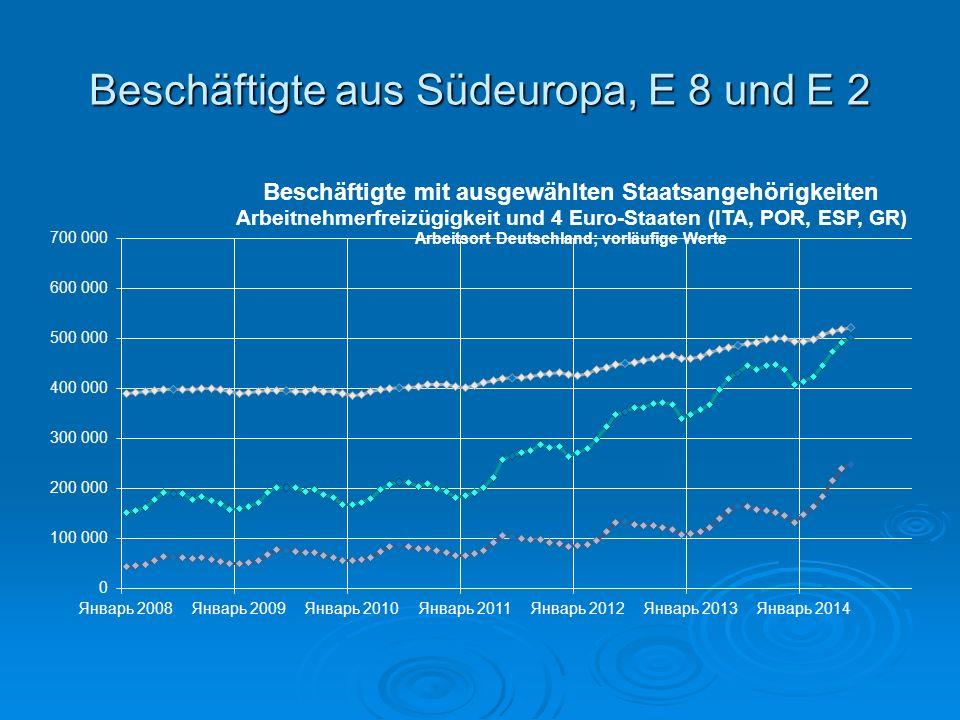 Beschäftigte aus Südeuropa, E 8 und E 2