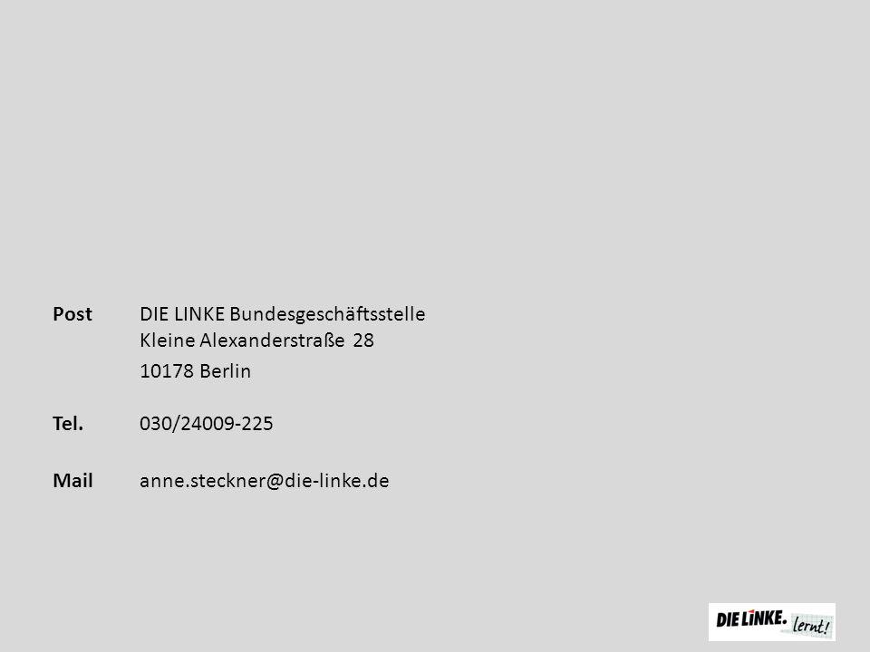 Post DIE LINKE Bundesgeschäftsstelle Kleine Alexanderstraße 28 10178 Berlin Tel.