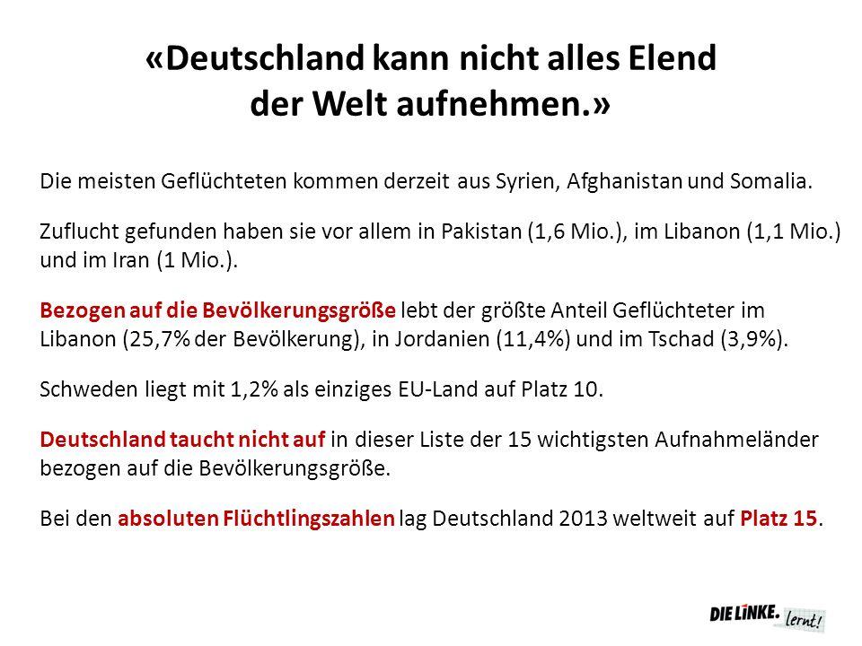 «Deutschland kann nicht alles Elend der Welt aufnehmen.»