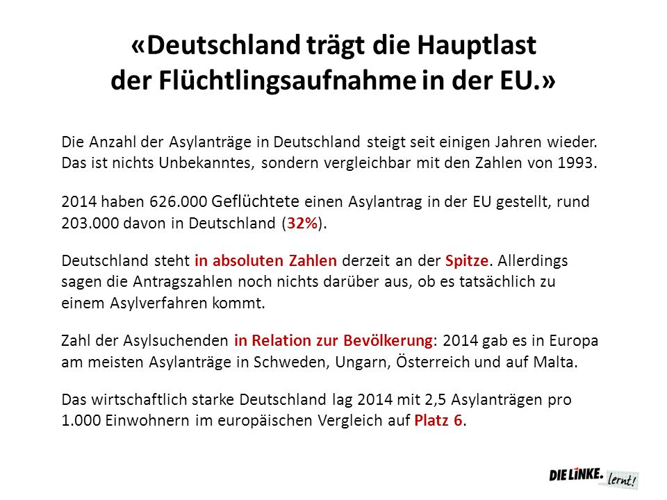 «Deutschland trägt die Hauptlast der Flüchtlingsaufnahme in der EU.»