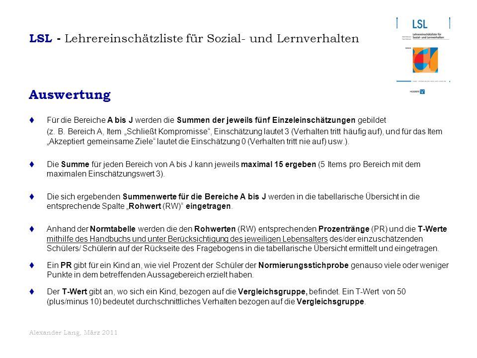 Auswertung LSL - Lehrereinschätzliste für Sozial- und Lernverhalten