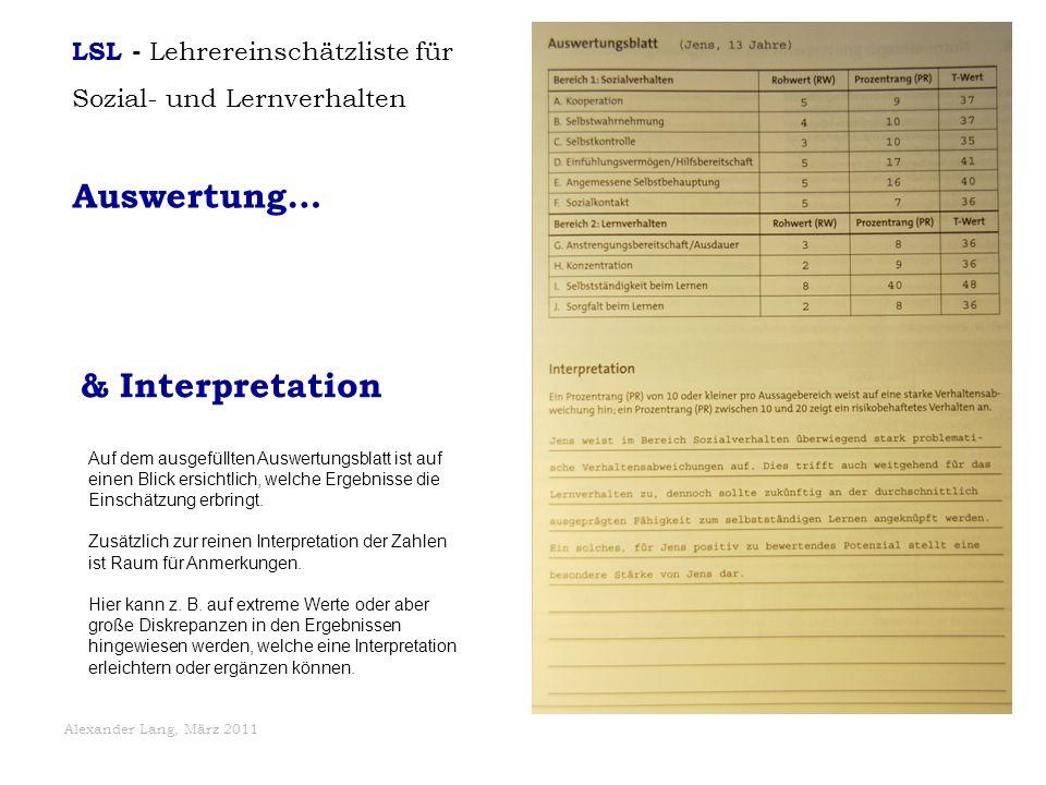 Auswertung… & Interpretation LSL - Lehrereinschätzliste für