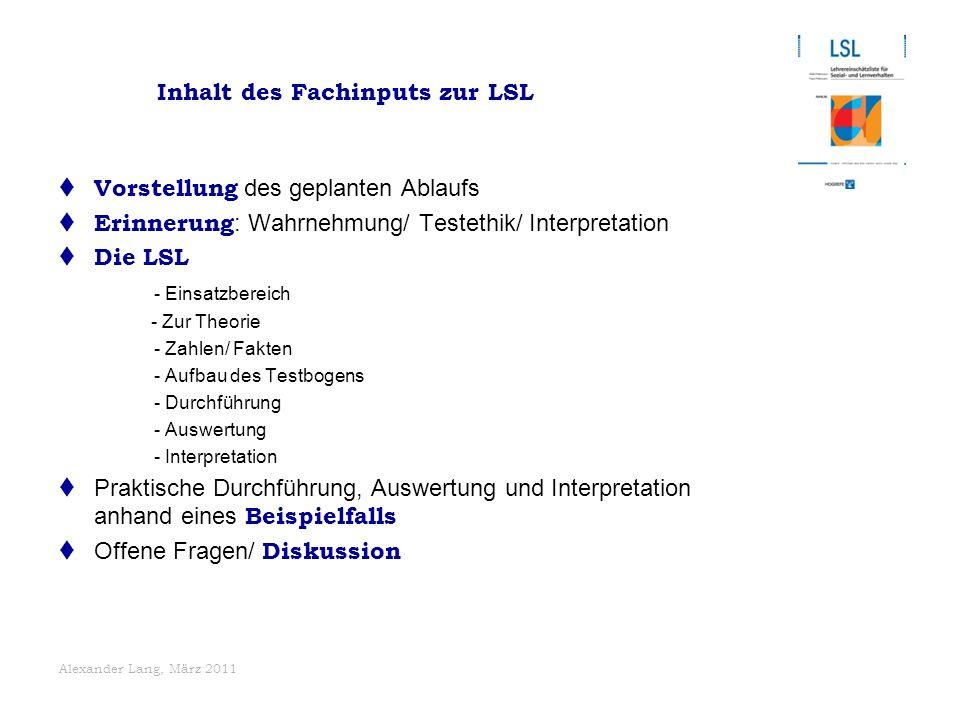 Inhalt des Fachinputs zur LSL