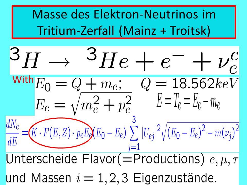 Masse des Elektron-Neutrinos im Tritium-Zerfall (Mainz + Troitsk)
