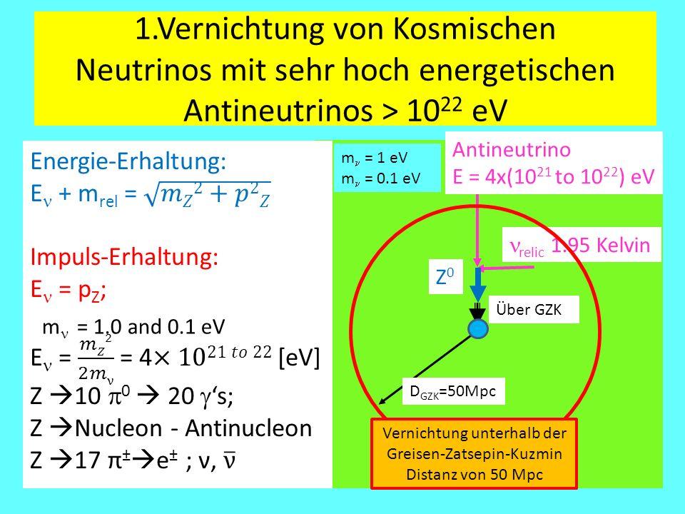 1.Vernichtung von Kosmischen Neutrinos mit sehr hoch energetischen Antineutrinos > 1022 eV